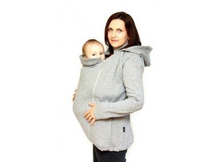 Těhotenská a nosící bavlněná mikina 6v1, šedá | Adelay