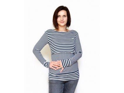 Bambusové kojící tričko s dlouhými rukávy 2v1, námořnické | Adelay