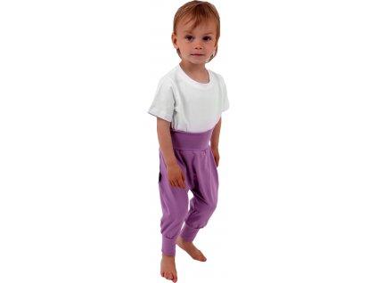 Dětské kalhoty baggy, lehké, fialové levandulové, velikost
