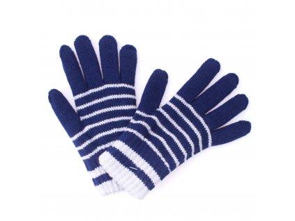 Zimní rukavice Pletex 10963 Tmavě modrá se sv. šedými proužky