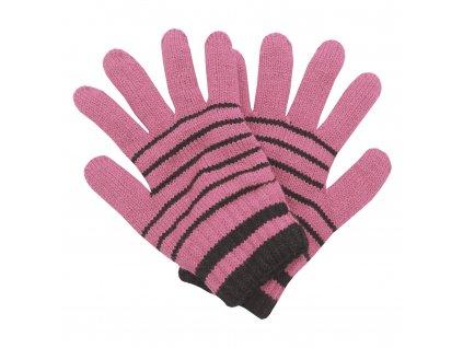 Zimní rukavice Pletex 10963 Světle růžová s proužky