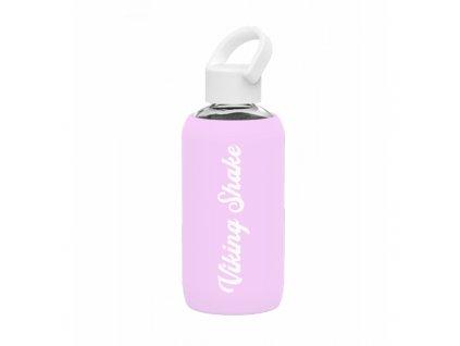 Lahev na vodu skleněná 420 ml silikonový obal Pink