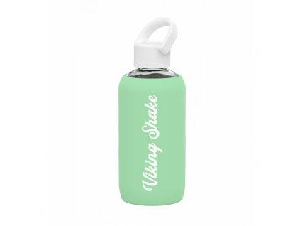 Lahev na vodu skleněná 420 ml silikonový obal Green