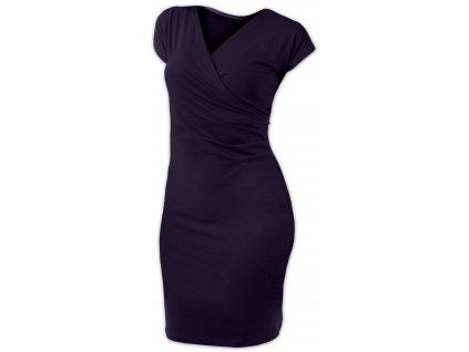 Dámské šaty (i kojicí) Amálie, bez rukávů, švestkově fialové,