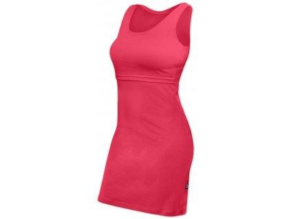 Kojicí šaty ELENA, bez rukávů, lososově růžové