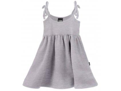 Dětské šaty, vázání na ramenou, šedý melír, velikost