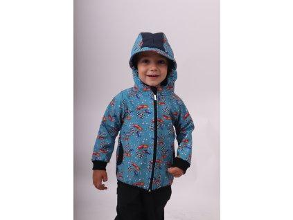 Dětská softshellová bunda, raketové auťáky,