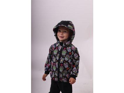 Dětská softshellová bunda, barevné lebky,