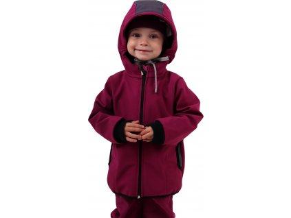 Dětská softshellová bunda, fuchsiová (sytě růžová),