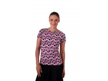 Kojicí tričko Lenka, krátký rukáv, fleky růžové na bílé,