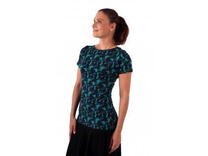 Kojicí tričko Lenka, krátký rukáv, fleky zelené na černé,