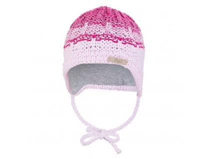 Little Angel Čepice pletená zavazovací duha Outlast ® - sv.růžová