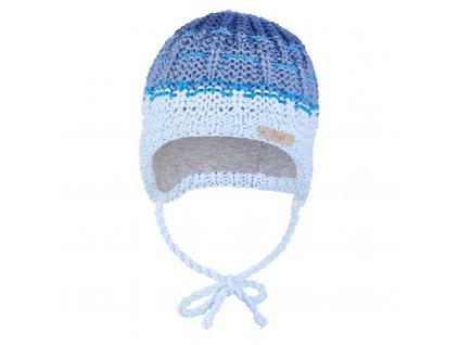 Little Angel Čepice pletená zavazovací duha Outlast ® - sv.modrá