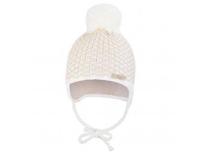 Little Angel Čepice pletená zavazovací kostička s bambulí Outlast ® - natur