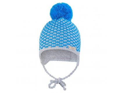 Little Angel Čepice pletená zavazovací kostička s bambulí Outlast ® - modrá