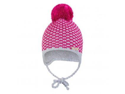 Little Angel Čepice pletená zavazovací kostička s bambulí Outlast ® - růžová