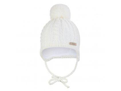 Little Angel Čepice pletená zavazovací copánky Outlast ® - natur
