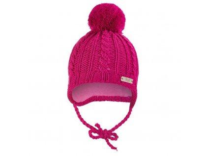 Little Angel Čepice pletená zavazovací copánky Outlast ® - růžová