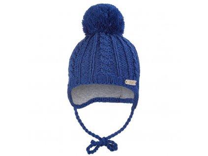 Little Angel Čepice pletená zavazovací copánky Outlast ® - tm.modrá