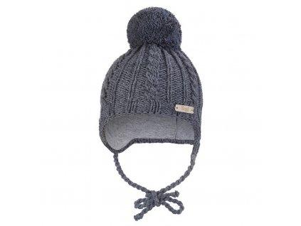 Little Angel Čepice pletená zavazovací copánky Outlast ® - tm.šedá