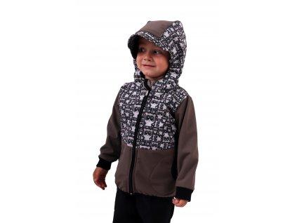 Dětská softshellová bunda, pandy+béžová,