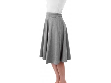 Midi sukně dámská i těhotenská, šedý melír,