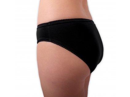 Dámské bavlněné kalhotky, klasický střih, černé,