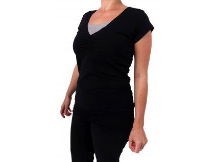 Kojící tričko LEA, krátký rukáv, černá