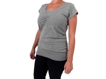 Kojící tričko LEA, krátký rukáv, šedý melír
