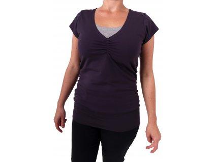 Kojící tričko LEA, krátký rukáv, švestkově fialové