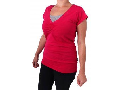 Kojící tričko LEA, krátký rukáv, sytě růžové
