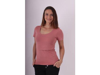 Kojicí tričko Kateřina, krátký rukáv, starorůžové