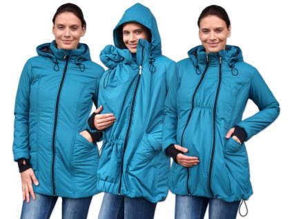 ZORA- zimní vyteplená bunda pro těhotné a nosící ženy (pro přední nošení), petrolejová,