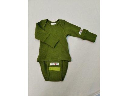 Manymonths body/tričko merino 19 Green Newcommer 50-56/62 cm