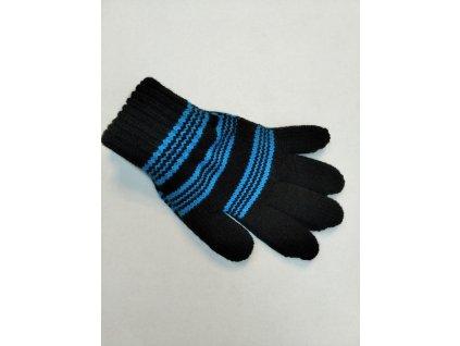 Zimní rukavice Pletex 10970 Tyrkysová s černými proužky