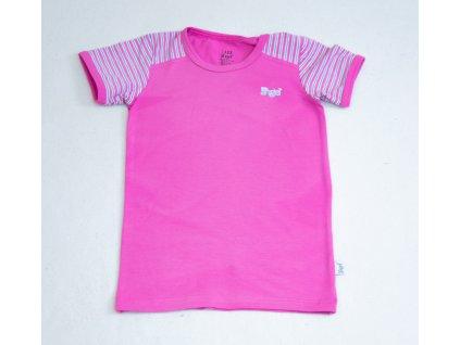 Tričko tenké KR pruh Outlast vel. 122, tm růžová pruh růžovozelený