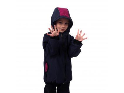 Dětská softshellová bunda, tmavě modrá s fuchsiovými doplňky, , Kolekce 2021