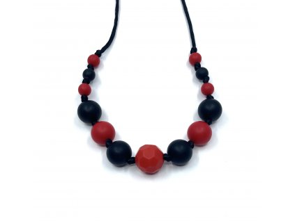 Silikonové korále, Náhrdelník červený zkosený, černá