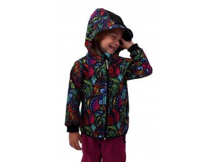 Dětská softshellová bunda, pestrobarevné ulity,