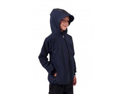 Dětská softshellová bunda, tmavě modrá s černými doplňky,