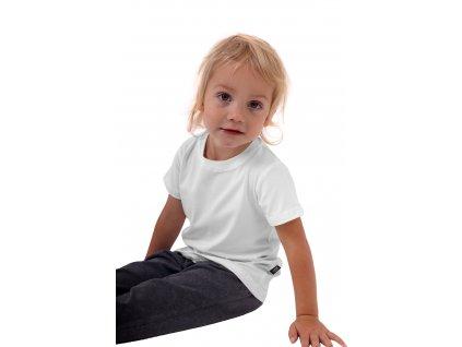 Bavlněné dětské tričko jednobarevné, krátký rukáv, bílé