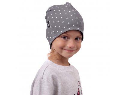Dětská čepice bavlněná, oboustranná, černá+šedá s puntíky, S