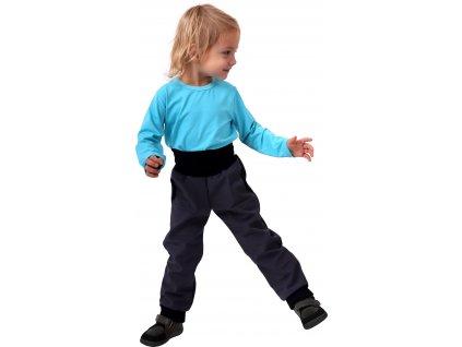 JOŽÁNEK Dětské softshellové kalhoty, antracitové (šedé), vel. , Kolekce 2021