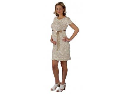 Těhotenské šaty Rialto LaClere béžový puntík 7870 Dámská velikost: 40