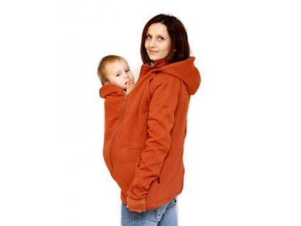 Těhotenská a nosící bavlněná mikina 6v1, rezavá | Adelay