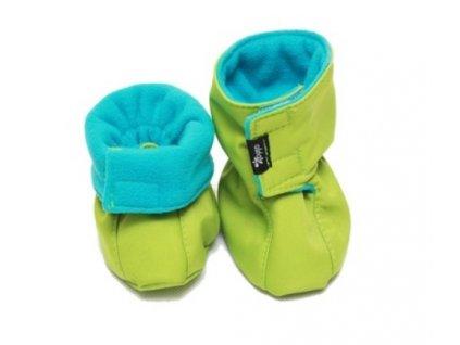 Dětské softshellové botičky, zeleno-tyrkysové | Adelay
