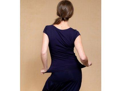 Bambusové kojící tričko s krátkými rukávy 2v1, tmavě modré | Adelay