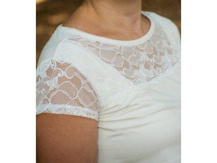 Bambusové kojící tričko s krátkými rukávy 2v1, smetanové s krajkou | Adelay