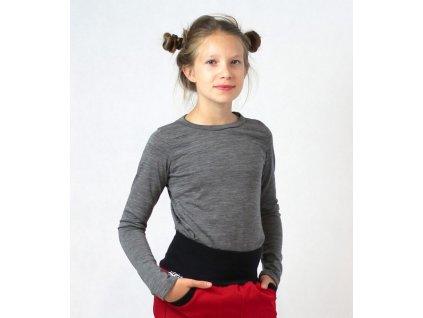 Dětské merino tričko, šedé | Adelay
