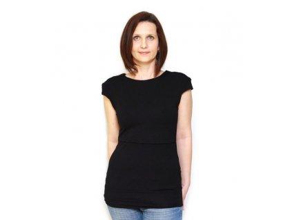 Bambusové kojící tričko s krátkými rukávy 2v1, černé | Adelay